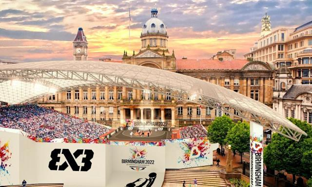 """<span class=""""element-image__caption"""">An artists impression of the Basketball arena in Victoria Square, Birmingham. </span> <span class=""""element-image__credit"""">Photograph: Birmingham City Council/PA</span>"""