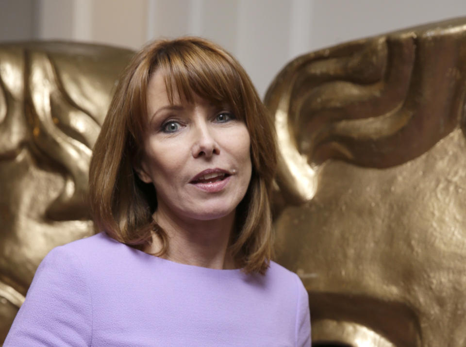 Kay Burley poses for photographers upon arrival at the British Academy Television Nominees Party in London, Wednesday, 22 April, 2015. (Photo by Joel Ryan/Invision/AP)