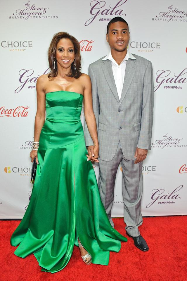 Holly Robinson Peete and her son R.J. Peete attend the Steve & Marjorie Harvey Foundation Gala on May 16, 2015, in Chicago. (Photo by Timothy Hiatt/Getty Images for Steve & Marjorie Harvey Foundation)