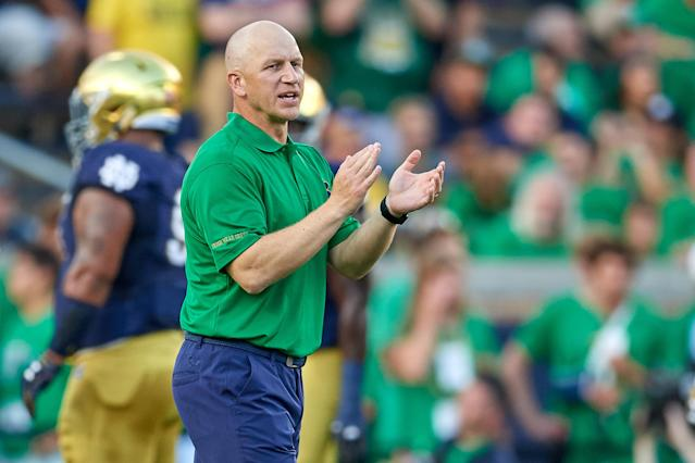Notre Dame defensive coordinator Clark Lea forges special relationships with his players. (Getty)
