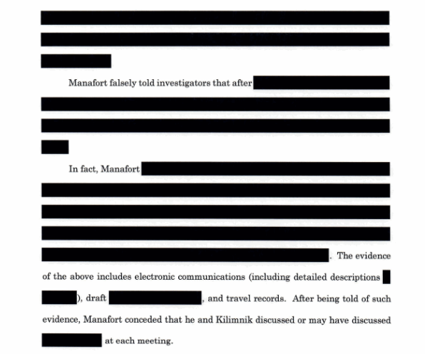 Portions about Manafort's interactions with Kilimnik are heavily redacted. (Special counsel's office)