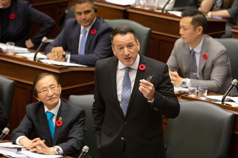 Ontario's Minister of Energy Greg Rickford speaks in the Ontario legislature in Toronto on Oct. 29, 2019. (Photo: Chris Young/Canadian Press)