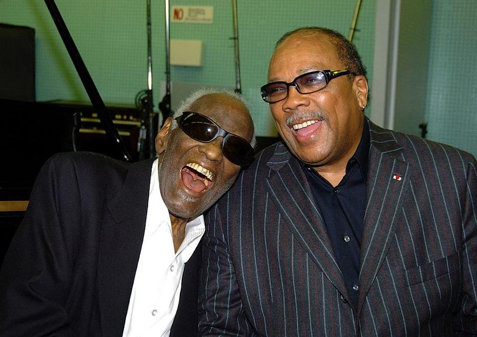 Ray Charles and Quincy Jones laughing together