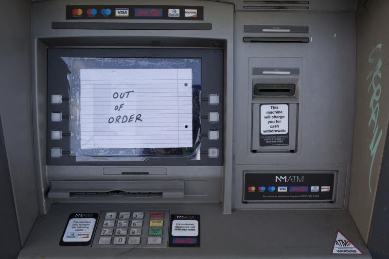 A detail of an out of order Cash dispenser (ATM) in West Norwood, south London, on 14th November 2019, in London, England. (Photo by Richard Baker / In Pictures via Getty Images)