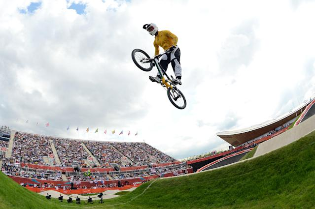 LONDON, ENGLAND - AUGUST 08: Sam Willoughby of Australia competes during the Women's BMX Cycling on Day 12 of the London 2012 Olympic Games at BMX Track on August 8, 2012 in London, England. (Photo by Harry How/Getty Images)
