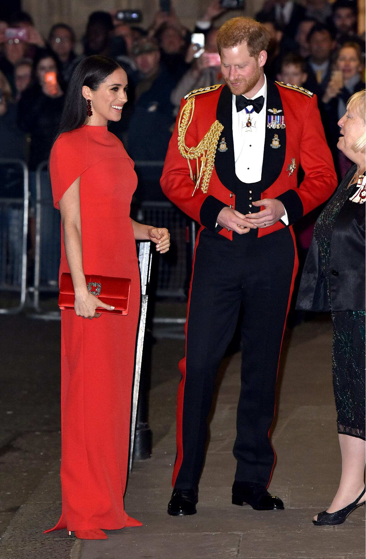 Meghan Markle and Prince Harry attended the Mountbatten Music Festival in London on March 07, 2020. (Photo by HGL/GC Images)