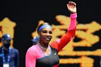 Serena Williams of the US celebrates after winning against Germany's Laura Siegemund during their women's singles match on day one of the Australian Open tennis tournament in Melbourne on Monday