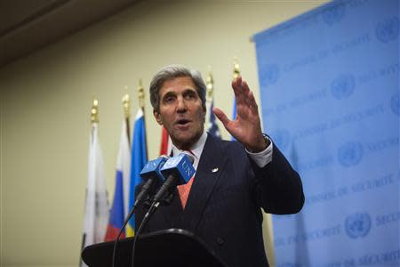U.S. Secretary of State John Kerry speaks to the media after a meeting in New York