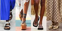 """<p>Despite unconventional settings, fashion designers marched on with their <a href=""""https://www.marieclaire.com/fashion/g34142929/spring-fashion-trends-2021/"""" rel=""""nofollow noopener"""" target=""""_blank"""" data-ylk=""""slk:Spring 2021 collections"""" class=""""link rapid-noclick-resp"""">Spring 2021 collections</a> and continued to put their best footwear forward. Given that WFH life continues for many, the overarching need for comfort in footwear was certainly met, with <a href=""""https://www.marieclaire.com/fashion/g32474813/best-flat-sandals/"""" rel=""""nofollow noopener"""" target=""""_blank"""" data-ylk=""""slk:flat sandals"""" class=""""link rapid-noclick-resp"""">flat sandals</a> taking top billing at most collections. We also got the answer to the question we've all been waiting for: Will we <em>want</em> to <a href=""""https://www.marieclaire.com/fashion/news/g4514/most-comfortable-heels/"""" rel=""""nofollow noopener"""" target=""""_blank"""" data-ylk=""""slk:wear heels"""" class=""""link rapid-noclick-resp"""">wear heels</a> again? Yes—but in the form of stable platforms. </p><p>For spring 2021, it was clear that practicality was top of mind for designers and in the demand from consumers. During this time at home, we've all taken inventory of our wardrobes, and the tightening of our footwear collection was reflected in the shows. Even if we can't predict what our next six months will look like, we can find relief in the fact that most designers are leaning into familiar styles that should hold up for a couple of seasons still.</p><p>So whether you're dusting off a pair from last year or switching up your favorite throw-on-and-go style, we've broken down the trends that we think are worth investing in. Because temperatures are dropping and spring dressing feels light years away, many of these styles are super transitional when paired with socks and knit hosiery, or can be worn in the comfort of your home and the heat blasting—pedicures optional. In other words, your feet can relax. We've got them covered.</p>"""