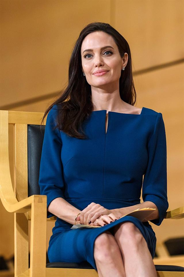 "<p>The actress and director <a rel=""nofollow"" href=""http://www.vanityfair.com/style/2017/03/angelina-jolie-lecture-at-london-school-of-economics?mbid=synd_yahoostyle"">gave her first lecture</a> at London School of Economics in March 2017. She will begin teaching a class for the Masters program in the Center of Women's, Peace and Security beginning this September. Jolie was selected as one of four visiting professors at the university, the program <a rel=""nofollow"" href=""http://www.lse.ac.uk/website-archive/newsAndMedia/news/archives/2016/05/WPS-Visiting-Professors-in-Practice.aspx?mbid=synd_yahoostyle"">announced on its Web site</a> last May.</p>"