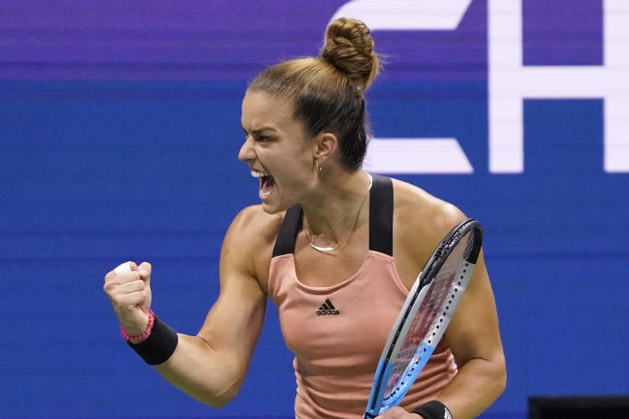 Maria Sakkari, of Greece, reacts during her match to Bianca Andreescu, of Canada, during the fourth round of the US Open tennis championships, Tuesday, Sept. 7, 2021, in New York. (AP Photo/John Minchillo)