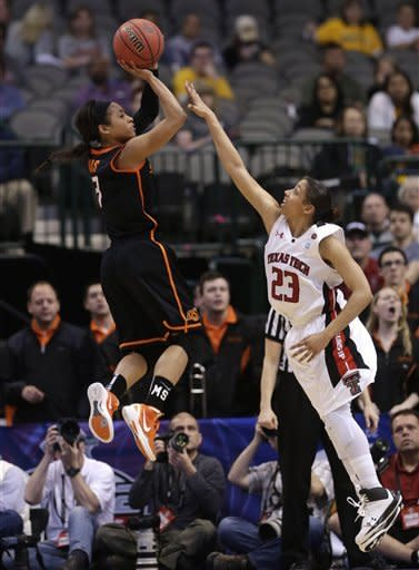 Oklahoma State guard Tiffany Bias (3) shoots against Texas Tech guard Monique Smalls (23) during the second half of an NCAA college basketball game in the Big 12 women's tournament Saturday, March 9, 2013, in Dallas. Oklahoma State won 59-54. (AP Photo/LM Otero)
