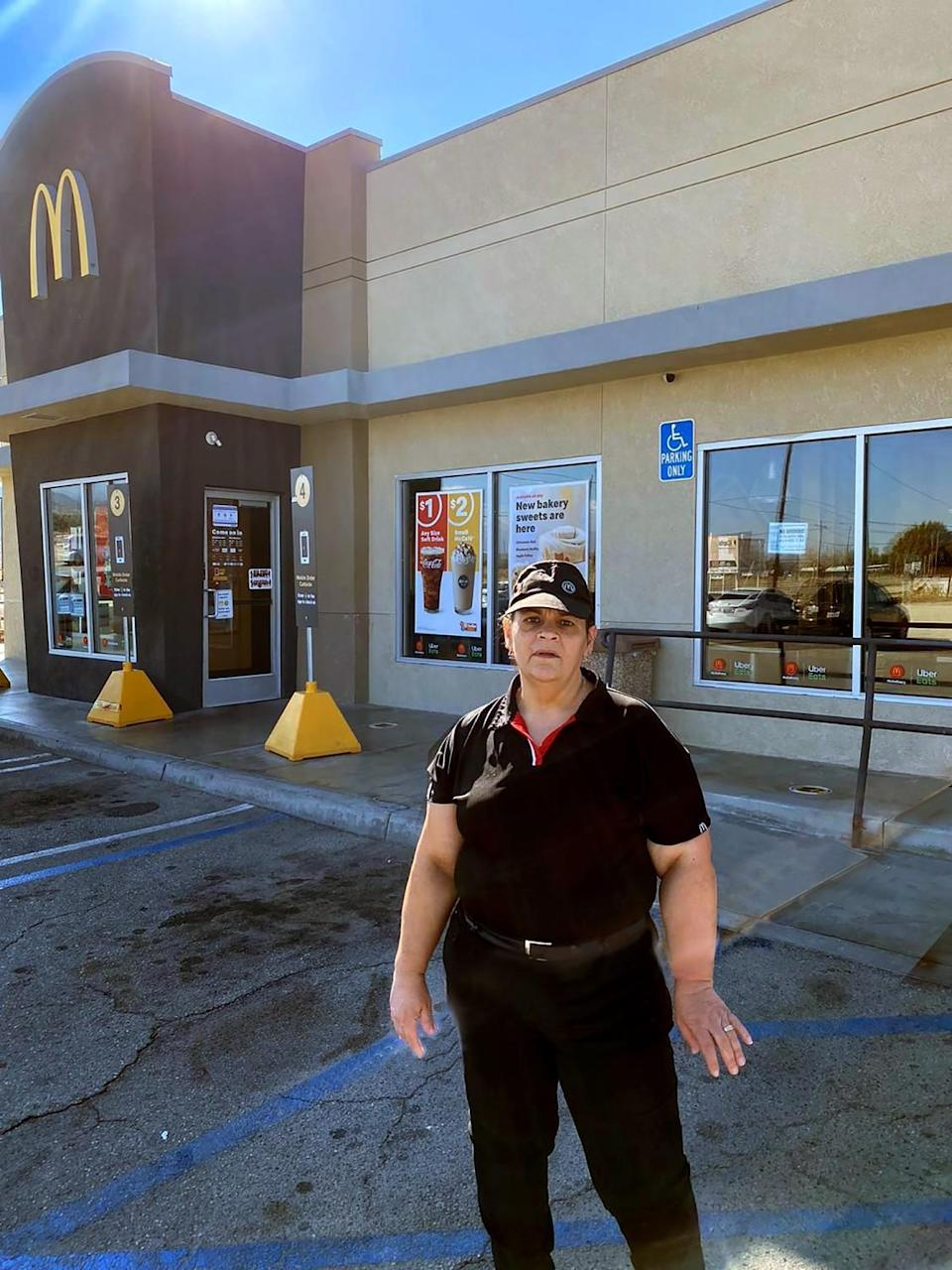 Imelda Rosales at the McDonald's outlet where she has worked for 11 years, in Littlerock, Calif.