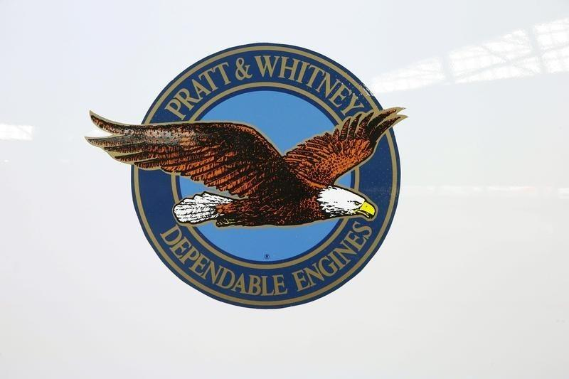 The logo of U.S. manufacturer Pratt & Whitney is seen on an engine of Swiss airline's new Bombardier CS100 passenger jet at Zurich airport near the town of Kloten