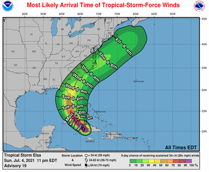The Florida Keys are expected to start feeling the winds from Tropical Storm Elsa around Monday afternoon.