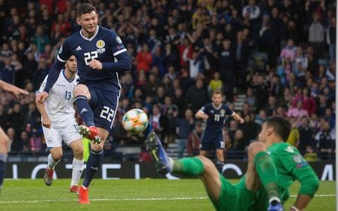 Scotland's Oliver Burke scores his side's secong goal during the UEFA Euro 2020 Qualifying, Group I match at Hampden Park, Glasgow - Credit: PA