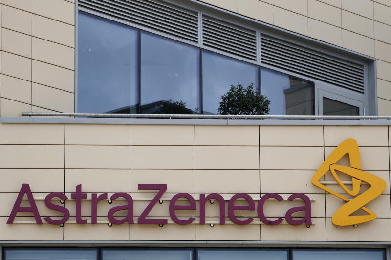 A general view of AstraZeneca offices and the corporate logo in Cambridge, England, Saturday, July 18, 2020. An Oxford University vaccine progress paper is to be published the the Lancet on Monday. Human trials of a potential coronavirus vaccine being developed by scientists are reported to have shown promising results. Pharmaceutical company AstraZeneca reached an agreement with Europe's Inclusive Vaccines Alliance (IVA) to supply up to 400 million doses of the University of Oxford's COVID-19 vaccine – at no profit – with deliveries starting by the end of 2020. (AP Photo/Alastair Grant)
