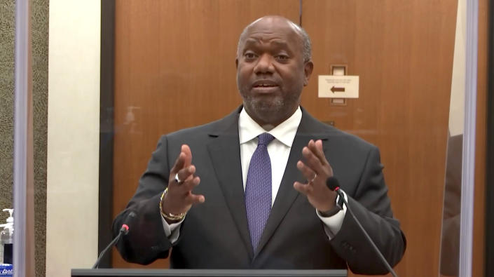 Prosecution attorney Jerry Blackwell questions a witness during the Derek Chauvin trial in Minneapolis, MN on April 14, 2021. (Court TV via Reuters Video)