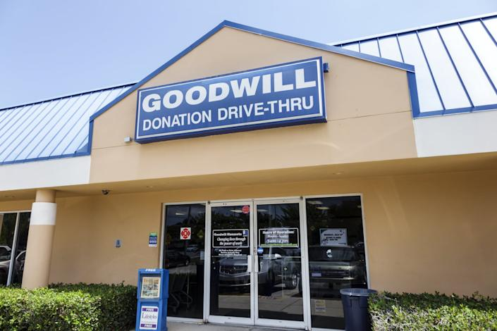The entrance to the Goodwill Industries. (Photo by: Jeffrey Greenberg/Universal Images Group via Getty Images)