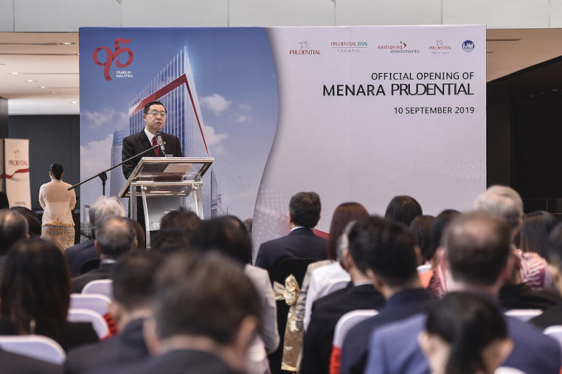 Minister of Finance Lim Guan Eng gives a speech during the launch of Menara Prudential at Tun Razak Exchange, September 10, 2019. — Picture by Miera Zulyana