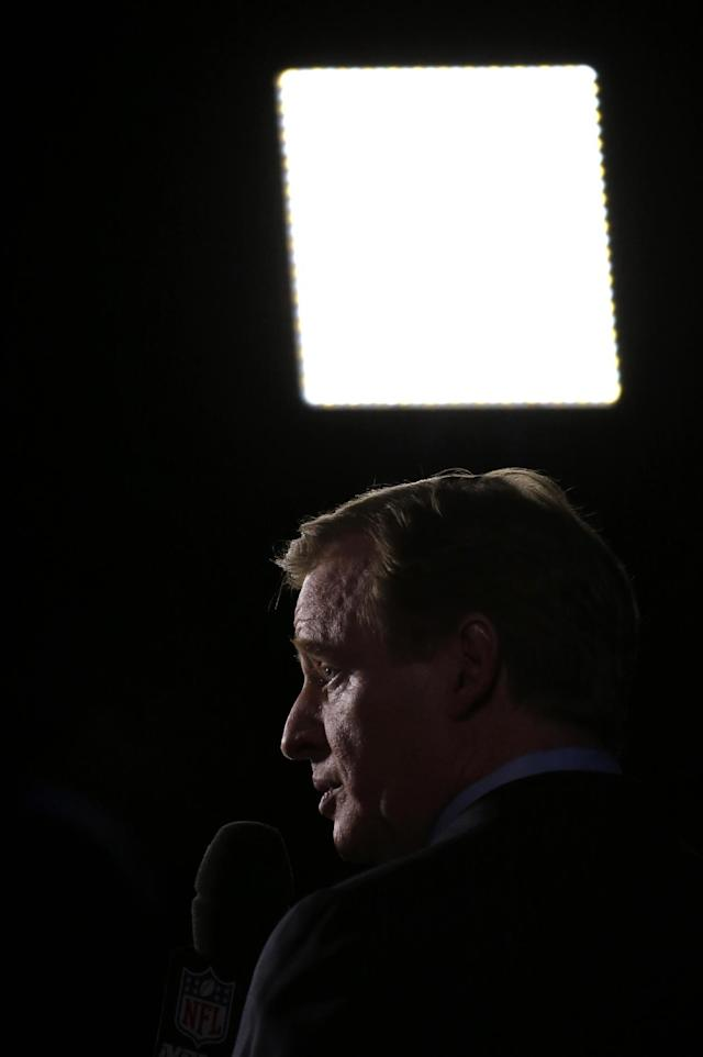 NFL comissioner Roger Goodell talks to a television reporter after a news conference Friday, Jan. 31, 2014, in New York. The Seattle Seahawks and the Denver Broncos are scheduled to play in the NFL Super Bowl XLVIII football game on Sunday, Feb. 2, at MetLife Stadium in East Rutherford, N.J.(AP Photo/Charlie Riedel)