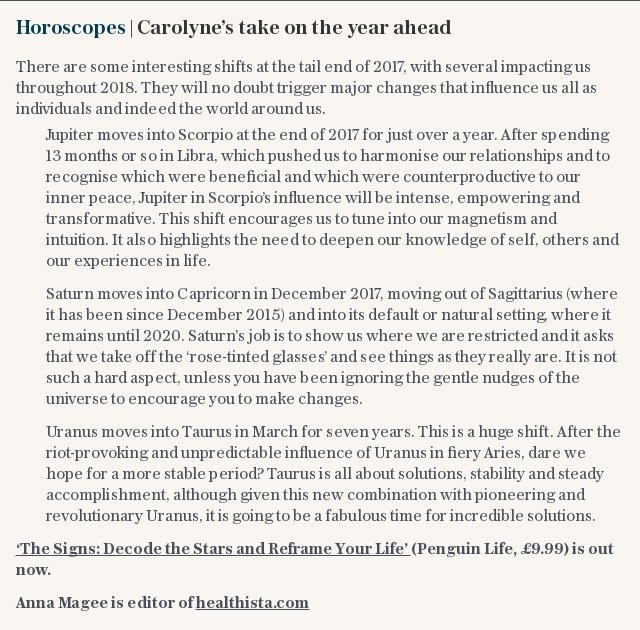 Horoscopes | Carolyne's take on the year ahead