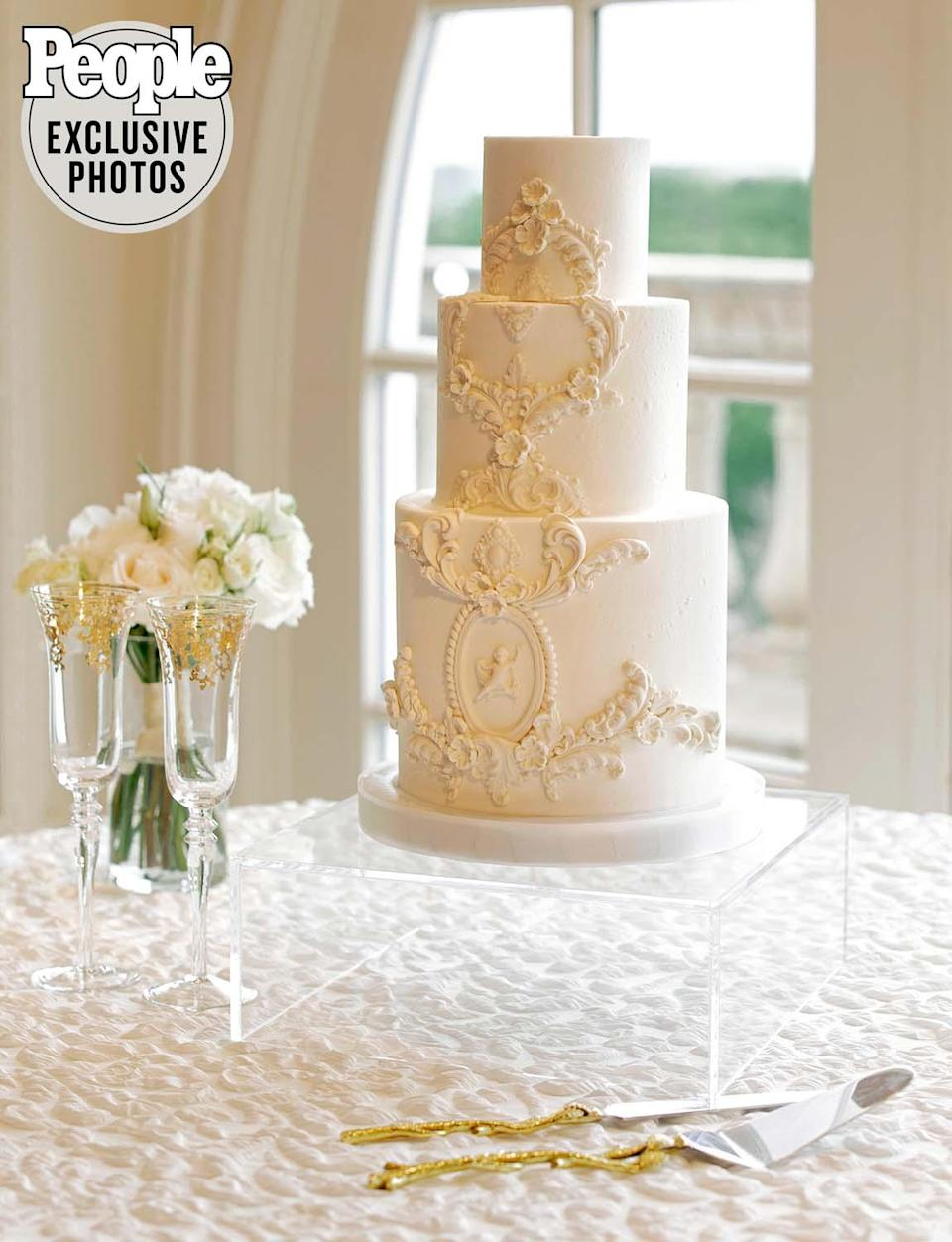 "<p>The two chose a smaller cake and enlisted <a href=""http://fancycakesbylauren.com/"" rel=""nofollow noopener"" target=""_blank"" data-ylk=""slk:Fancy Cakes by Lauren"" class=""link rapid-noclick-resp"">Fancy Cakes by Lauren</a> to create the dessert of their dreams. The custom three-tier cake also included a custom filling inspired by Gottschalk.</p> <p>Gates recalled their cake tasting session when Gottschalk took a bite of the cake and said, ""This is great, but this needs a pistachio filling."" The team took his notes and whipped up a new filling which Gates ended up loving.</p> <p>""I'm telling you, I was shocked at how great it made the cake taste,"" says Gates. </p>"