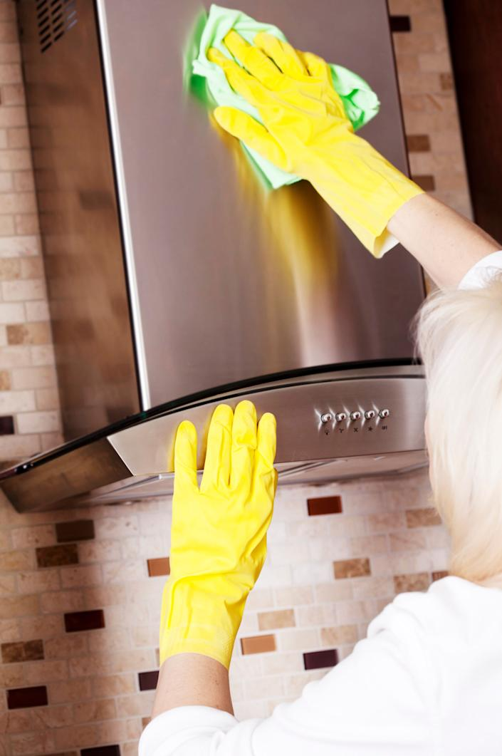 To remove fingerprints from stainless-steel appliances, place a small amount of baby oil on a napkin and wipe the affected areas.