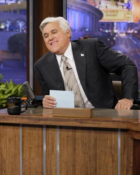 "This Oct. 24, 2012 photo released by NBC shows Jay Leno, host of ""The Tonight Show with Jay Leno,"" on the set in Burbank, Calif. NBC announced Wednesday, April 3, 2013 that Jimmy Fallon is replacing Jay Leno as the host of ""The Tonight Show"" in spring 2014. (AP Photo/NBC, Paul Drinkwater)"