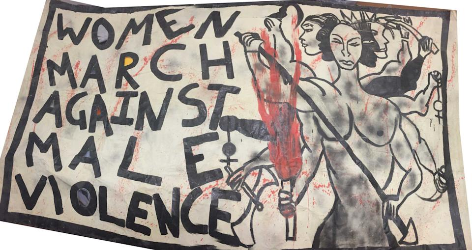 A Southall Black Sisters banner designed by Shakila Taranum Maan - Southall Black Sisters
