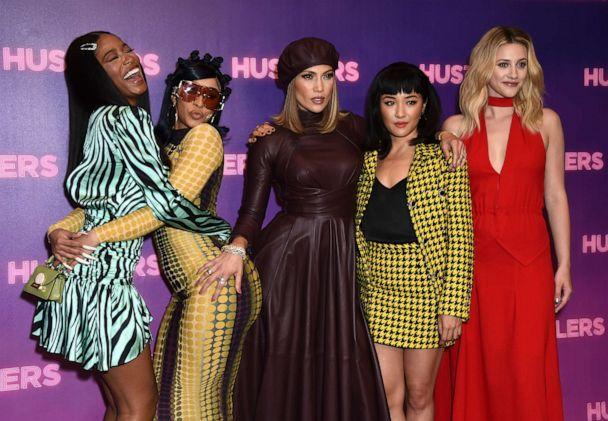 PHOTO: Keke Palmer, from left, Cardi B, Jennifer Lopez, Constance Wu, and Lili Reinhart arrive at a photo call for 'Hustlers' at The Four Seasons, Aug. 25, 2019 in Beverly Hills, Calif. (Jordan Strauss/Invision/AP)