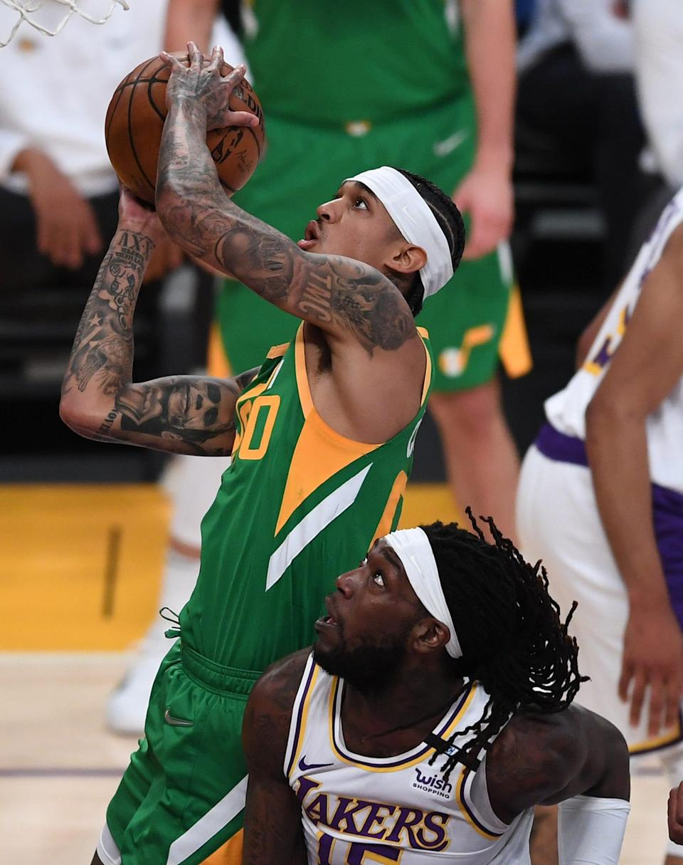 Jordan Clarkson (top) is averaging a career-high 17.4 points a game and is the leading candidate to win Sixth Man of the Year, which was won last season by Montrezl Harrell (right).