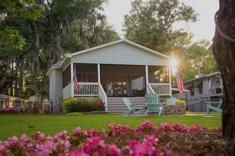 """<h2>Caddo Lake, Texas</h2><br><strong>Location</strong>: Karnack, Texas<br><strong>Sleeps</strong>: 4<br><strong>Price Per Night</strong>: <a href=""""https://airbnb.pvxt.net/P0O2Y6"""" rel=""""nofollow noopener"""" target=""""_blank"""" data-ylk=""""slk:$170"""" class=""""link rapid-noclick-resp"""">$170</a><br><br>""""The cabin was built in the early 1900s. It was indeed charming; however, some updates were needed. We have completely updated the electricity and overhauled every room in the house with new furniture, mattresses, and decor. If you love the cozy feel of a modern farmhouse with shiplap and neutral colors, then you will enjoy our place as much as we do. We still have some work to do, but for now, we would like to invite guests to enjoy our cabin as much as we do.""""<br><br><h3>Book <a href=""""https://airbnb.pvxt.net/P0O2Y6"""" rel=""""nofollow noopener"""" target=""""_blank"""" data-ylk=""""slk:Caddo Lake First Cast Cabin"""" class=""""link rapid-noclick-resp"""">Caddo Lake First Cast Cabin</a></h3>"""