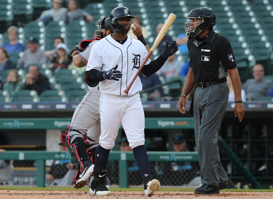 Detroit Tigers left fielder Christin Stewart strikes out against the Miami Marlins during the first inning Wednesday, May 22, 2019 at Comerica Park.