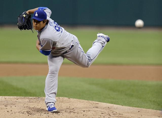 Los Angeles Dodgers starting pitcher Hyun-Jin Ryu, of South Korea, throws during the first inning of a baseball game against the St. Louis Cardinals on Thursday, Aug. 8, 2013, in St. Louis. (AP Photo/Jeff Roberson)