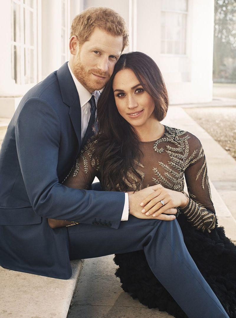 <p>On 21 December 2017, Kensington Palace shared a photograph of newly-engaged couple Prince Harry and Meghan Markle.<br><br>Photographer Alexi Lubomirski took the image on the steps of Frogmore House in Windsor Castle earlier in the week.<br><br>In the sweet snap, <em>Suits</em> actress Meghan Markle dons a couture gown by Ralph and Russo. <em>[Photo: Kensington Palace]</em> </p>
