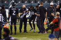Philadelphia Eagles' DeSean Jackson is helped off the field after an injury during the second half of an NFL football game against the New York Giants, Thursday, Oct. 22, 2020, in Philadelphia. (AP Photo/Derik Hamilton)