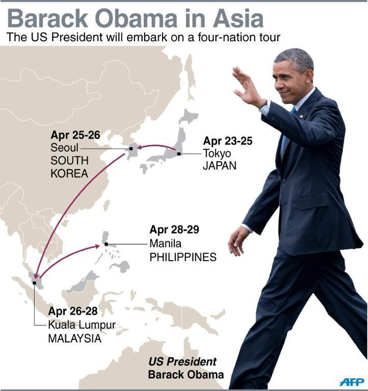Map showing the four Asian countries that US President Barack Obama will visit starting on Wednesday