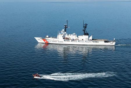The Coast Guard Cutter Midgett, a 378-foot high-endurance cutter homeported in Seattle, transits the Strait of Juan de Fuca enroute to Seattle