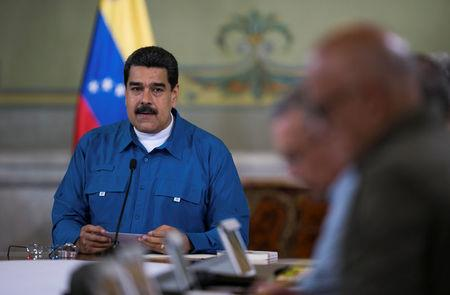 Venezuela's President Nicolas Maduro speaks during a meeting with ministers in Caracas