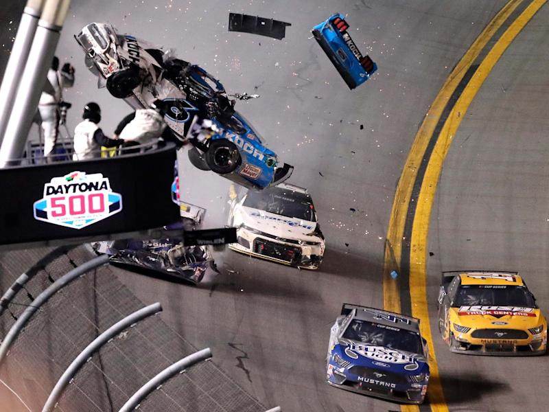 Ryan Newman's No 6 car is sent airborne after contact with Ryan Blaney and Corey LaJoie: AP