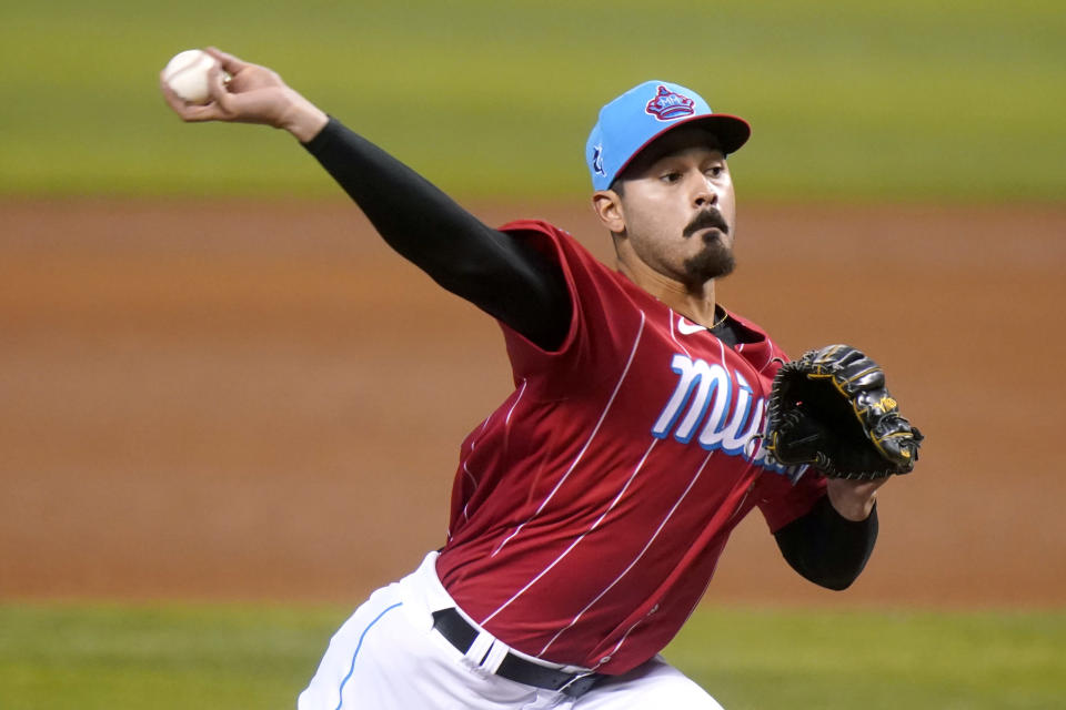 Miami Marlins starting pitcher Pablo Lopez throws during the third inning of a baseball game against the Atlanta Braves, Sunday, July 11, 2021, in Miami. (AP Photo/Lynne Sladky)