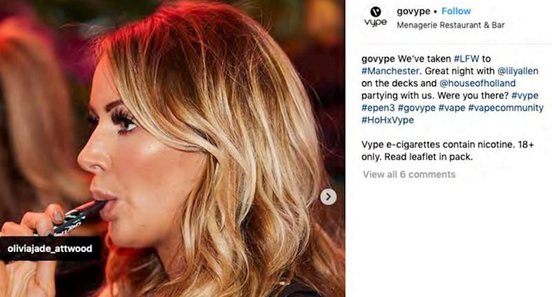 The ASA is cracking down on Instagram posts said to promote vaping. [Photo: PA/Instagram]
