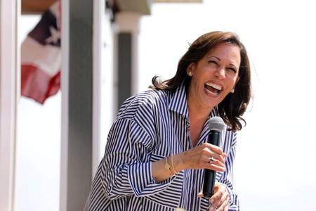 U.S. Senator Kamala Harris speaks during a Fourth of July House Party in Indianola