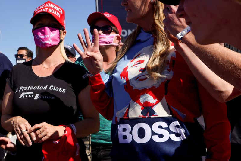 FILE PHOTO: U.S. President Donald Trump holds a campaign rally at Laughlin/Bullhead International Airport in Arizona