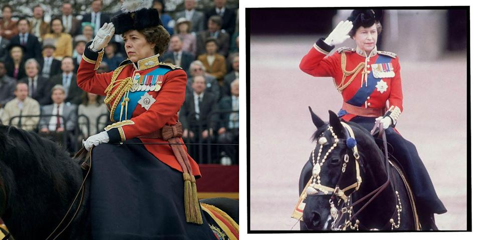 <p>Images ahead of the fourth season appear to show Colman in ceremonial uniform at the annual Trooping the Colour procession in London, which celebrates the Queen's birthday. This photo of the Queen on horseback was taken in 1979.</p>