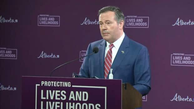 Jason Kenney unveils a $370-million jobs program for the province, funded by Alberta and Ottawa.  (CBC - image credit)