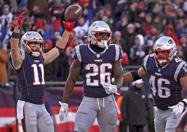 Sony Michel and the other Patriot RBs should benefit from a top-of-the line run-blocking unit. (Photo by Barry Chin/The Boston Globe via Getty Images)