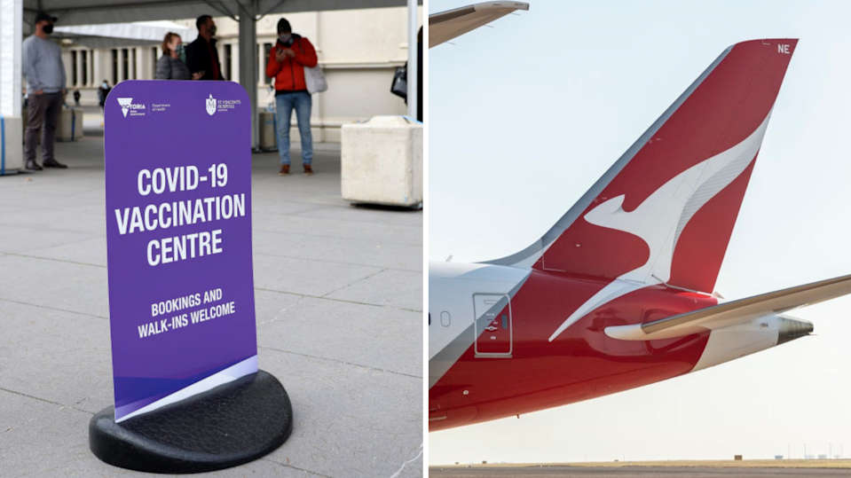 Families could score free travel for a year under Qantas' vaccine plan. (Images: Getty).