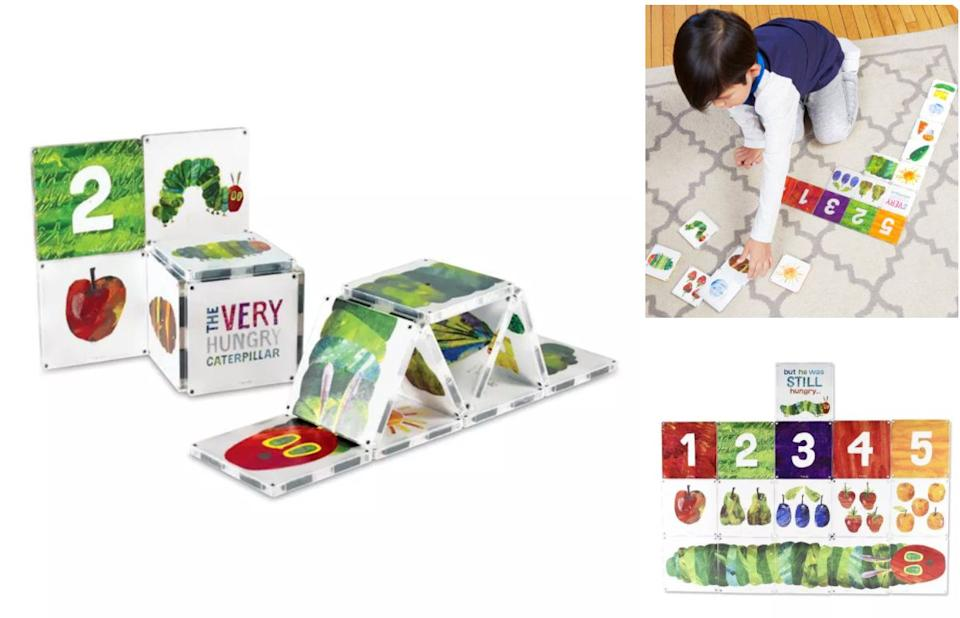 """Your little one canrecreate the works of children's author Eric Carle while building 3D versions of characters from beloved books like """"The Very Hungry Caterpillar.""""<br /><br /><strong>Promising review:</strong>""""If you're a parent, chances are there is an Eric Carle book in your child's library, be it <i>The Grouchy Ladybug</i> or <i>The Very Busy Spider</i> or a personal favorite of mine, <i>Brown Bear, Brown Bear, What Do You See?</i><strong>I introduced the <i>Papa Please Get the Moon For Me</i> set to my 1-year-old and he's totally into it. Well, he's totally into destroying whatever I build with it</strong>. As an added bonus, the Magna-Tiles kind of feel and sound like cassettes, which will immediately take you back to the days of your youth making mixtapes."""" —<a href=""""https://www.buzzfeed.com/jmihaly"""" target=""""_blank"""" rel=""""noopener noreferrer"""">John Mihaly</a><br /><br /><strong>Get it from Target for<a href=""""https://go.skimresources.com?id=38395X987171&xs=1&url=https%3A%2F%2Fwww.target.com%2Fp%2Fmagna-tiles-eric-carle-very-hungry-caterpillar%2F-%2FA-78646268&xcust=HPToddlerToys607dd44ee4b0df3610beec33"""" target=""""_blank"""" rel=""""nofollow noopener noreferrer"""" data-skimlinks-tracking=""""5595334"""" data-vars-affiliate=""""goto.target.com"""" data-vars-campaign=""""SHOPbest-toddler-toys-2020-john-mihaly-06-11-2020-5595334-"""" data-vars-href=""""https://goto.target.com/c/468058/81938/2092?subId1=SHOPbest-toddler-toys-2020-john-mihaly-06-11-2020-5595334-&u=https%3A%2F%2Fwww.target.com%2Fp%2Fmagna-tiles-eric-carle-very-hungry-caterpillar%2F-%2FA-78646268"""" data-vars-link-id=""""2011603"""" data-vars-price="""""""" data-vars-product-id=""""16194149"""" data-vars-redirecturl=""""https://www.target.com/p/magna-tiles-eric-carle-very-hungry-caterpillar/-/A-78646268"""" data-vars-retailers=""""target"""" data-ml-dynamic=""""true"""" data-ml-dynamic-type=""""sl"""" data-orig-url=""""https://goto.target.com/c/468058/81938/2092?subId1=SHOPbest-toddler-toys-2020-john-mihaly-06-11-2020-5595334-&u=https%3A%2F%2Fwww.target.com%2Fp%2Fmagna-tiles-eri"""